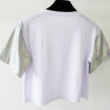 holographic short sleeved crop top