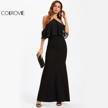 COLROVIE Pearl Beaded Strappy Halter Party Dress Open Back Women Elegant Maxi Summer Dresses Black Layered Sexy Club Dress