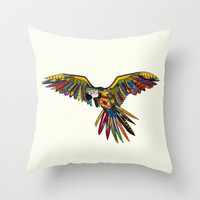 harlequin parrot cream Throw Pillow by Sharon Turner
