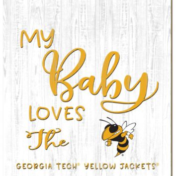 Georgia Tech Yellow Jackets | My Baby Loves | Sign | Wood | Rope Hanger | NCAA