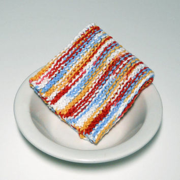Large Hand Knitted Cotton Washcloth, Dishcloth, Dust Cloth, multi-colored, colorful washcloth, Mix and Match for a Custom Set, Shower Gift