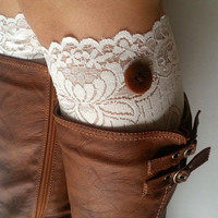 Ivory Lace Boot Cuff socks , Soft Stretch lacy socks for boots