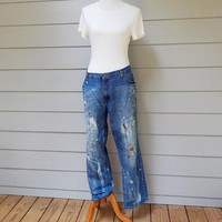 Bleached Dirty Jeans, Red Camel Denim Jeans, Size 40 x 32