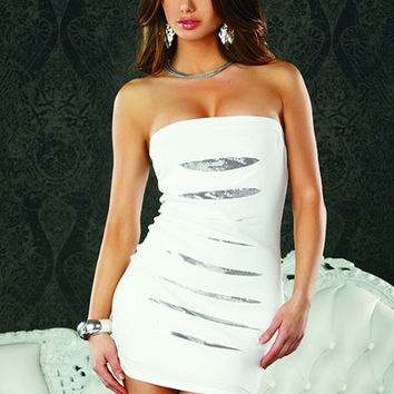 Tube Dress With Sequins