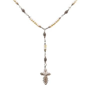 Sterling Silver 7 Sorrows Rosary Necklace Freshwater-Cultured Pearls 6mm, Silver Crucifix, 17""