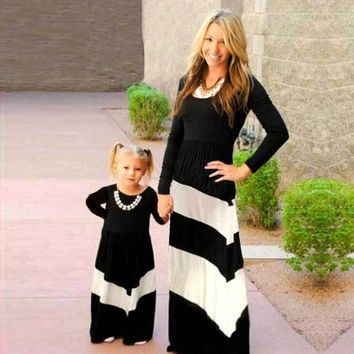 Mother Daughter Black & White Striped Matching Dresses