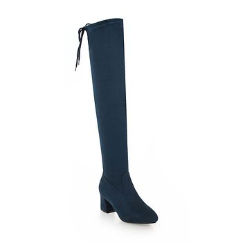 Suede Over the Knee Boots Winter Shoes for Woman 4541