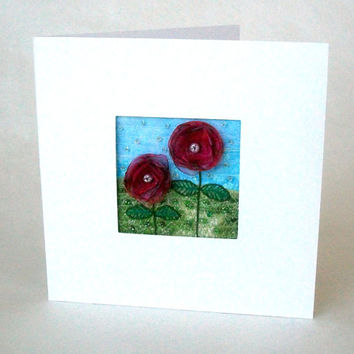 5 inch square card - fabric greeting card - embroidered card - organza flower card  - fabric art  -  textile art - wedding gift card