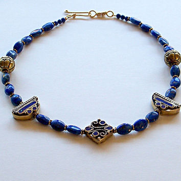 Lapis Beaded Choker Style Necklace, Tibetan Jewelry, Tribal Jewelry, Lapis Jewelry, Lapis Lazuli Necklace, Beach Jewelry