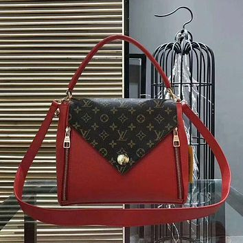 Louis Vuitton LV Popular Ladies Leather Satchel Shoulder Bag Handbag Crossbody Wine Red I