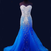 Actual Photo Evening Dresses 2016 Elegant Party Robe De Soiree Rhinestone Sparkling Royal Blue Mermaid Prom Gowns For Womens