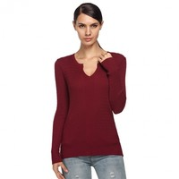 ANGVNS Women's Casual Slim Notch Neck Long Sleeve Pullover Cable Knitwear Sweater Top