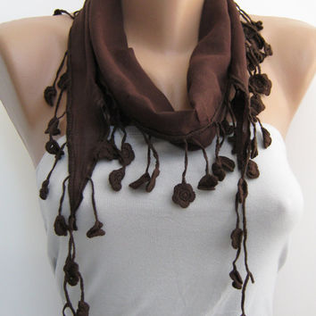 15% SALE Dark brown cotton lace scarf, summer accessories, headband