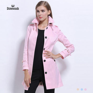 British Coat Double Breasted Leather Trench Coat British Style Women Dust Coat Burderry Runway 2017 Peacoat Women Pink Long Coat