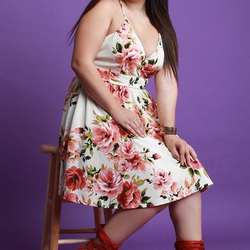 Floral Print Sweetheart Skater Dress