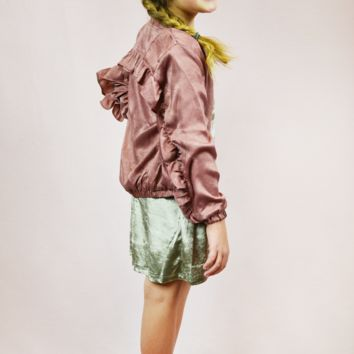 lil' belle call to action ruffled satin bomber jacket - mauve