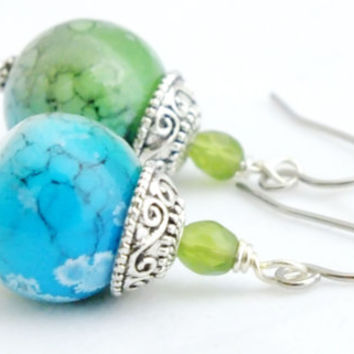 Green and Blue Lampwork Bead Earrings,Blue and Green Earrings, Czech Earrings, Artisan Earrings