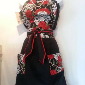 Vintage Inpsired Black and Red  Dia De Los Muertos, Day of the Dead  Style Apron