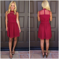Chelsea Embroidered Dress - BURGUNDY