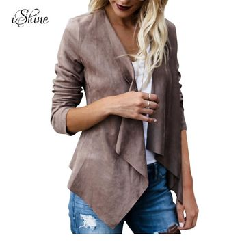 Fashion Women Irregular Faux Suede Leather Revers Coat Basic Jacket 2017 Autumn Turn-down Collar Windbreaker Slim Bomber Jackets