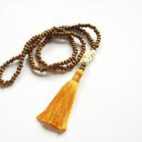 Orange tassel long necklace elephant jewellery, Lucky elephant wooden bead necklace with tassel, Baby elephant lucky necklace tassel