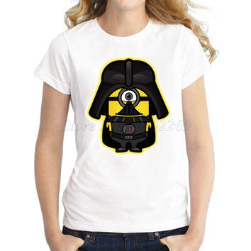Asian Size Dark Minion women t-shirt short sleeve casual funny cool tee Star Wars Minions cartoon printed lady tops