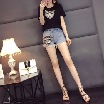 """Gucci"" Women Casual Fashion Cat Head Embroidery Short Sleeve T-shirt Denim Shorts Jeans Set Two-Piece"