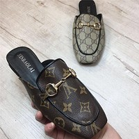 GUCCI & LV LOUIS VUITTON 2018 Summer Lettering Printed Metallic Chain Square Toe Flat Sandals Slippers F0405-1