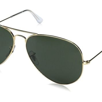 Ray-Ban Aviator Large Metal Sunglasses GOLD Frame /GREY GREEN 62 mm New