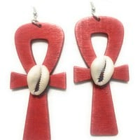 Anhk Earrings w/cowrie, wooden, red