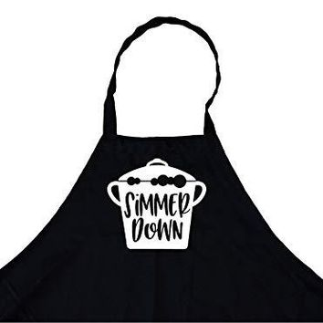 Simmer Down Chef's Funny Cooking Apron for Men Kitchen, BBQ Grill, Breathable, Machine Washable…