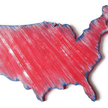 Usa Map Wooden Wall Decor Hand Painted In Red White And Blue Shabby Wall Hanging Rustic Wall Art