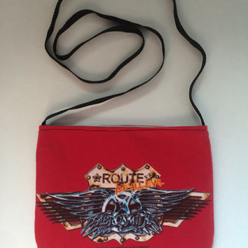 AEROSMITH - Upcycled/ Reclaimed Rock T-Shirt Sling Purse - ooak