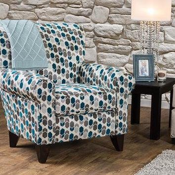 Galeena Contemporary Rolled Arm Accent Chair in Beige