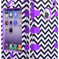 Bastex Hybrid Case for Apple iPhone 4, 4s - Purple Silicone with Hard Black & White Chevron Pattern Shell