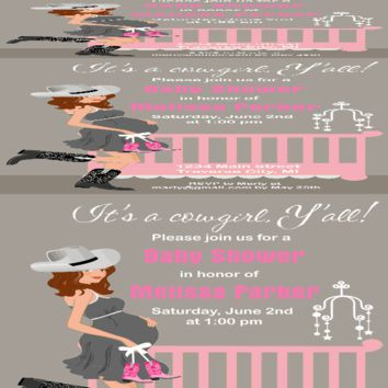 Cowgirl Crib Baby Shower Invitations - Announce It!
