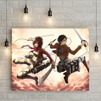 Attack on Titan Art Silk Fabric Poster Print 12x18 24x36inch Wall Pictures For Room Decor