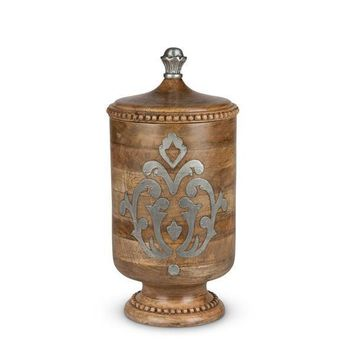 GG Heritage Wood and Metal Inlay Medium Canister 14""