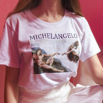 2018 Vogue Women Summer Tops Short Sleeved Cotton Female T shirts Classic Michelangelo Oil Painting Vintage T shirt Women Tumblr