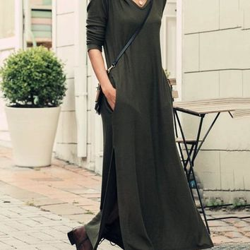 New Black Pockets Slit Hooded Long Sleeve Casual Maxi Dress