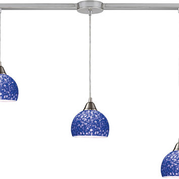 "0-012775>36""w Cira 3-Light Kitchen Island Pendant Satin Nickel with Pebbled Blue Glass"
