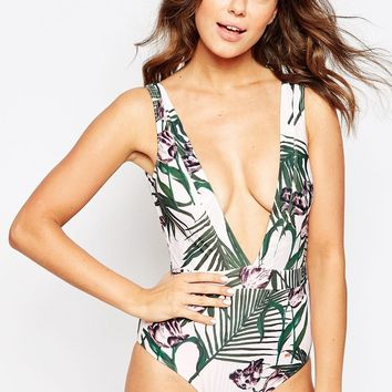 Ted Baker Nude Palm Floral Swimsuit