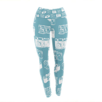"KESS Original ""Camera Pattern"" G. Blu Yoga Leggings"