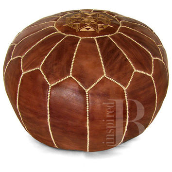 Leather pouf natural brown | Moroccan poufs