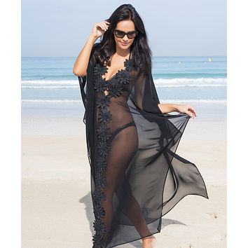 Black Sheer Deep Plunge w/ Flower Detail Long Beach Cover Up