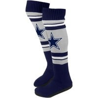 Dallas Cowboys Ladies Knit Knee Slipper Socks - Navy Blue/Gray