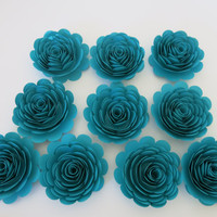 "Dark Teal Roses set of 10 large paper flowers 3"" rosette floral decorations for wedding bridal shower baby nursery birthday party"