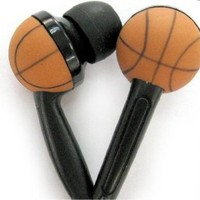 WCI Kids Sports Phones - Cute Pair Of Quality Stereo Earphones With Inset Basketball Design - Connect To iPod, iPhone, Droid, Blackberry, MP3 Player And All 3.5mm Audio Devices - For The Basketball Loving Child