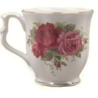 Set of 4 Country Rose 12 oz. Mugs Fine Bone China with Gold Trim