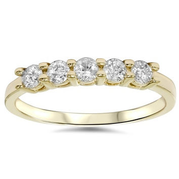 0.50CT Five Stone Diamond Ring 14K Yellow Gold- Size 4-9